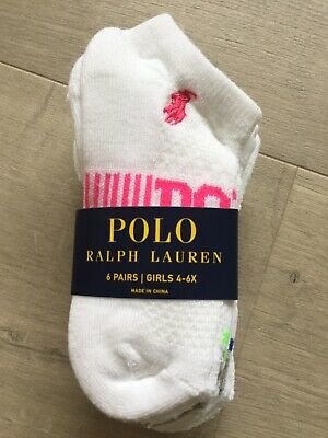 *New Ralph Lauren Sport Sock 6 Pairs Girls 4-6X (Fits Shoe Size 10-13)