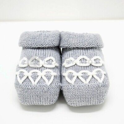 Socks Shoe in Warm Cotton Grey with Embroidery Newborn Romboli AS92