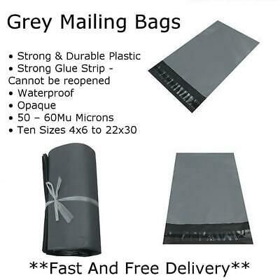 "100 BAGS - 6"" x 8"" STRONG POLY MAILING POSTAGE POSTAL QUALITY SELF SEAL GREY"