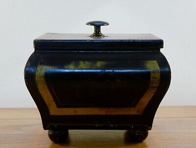 Toleware Tea Caddy and Caddy Spoon