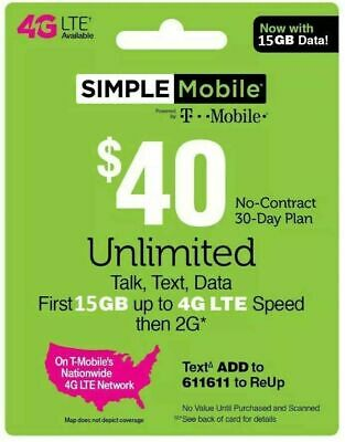 SIMPLE MOBILE Prepaid $40 Refill Top-Up Prepaid Card ,PIN / RECHARGE
