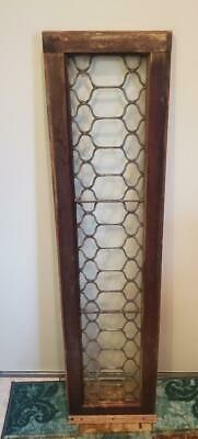 VERY NICE Antique Rectangular Leaded Glass Window Unusual Design Floral Transom