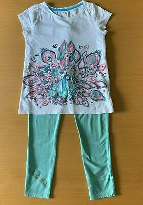Girls Next sportswear teal leggings and embroidered peacock t-shirt, 8-9 years