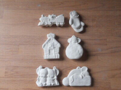 3 Christmas Flat One Sided Owl Ornaments pairs; Ceramic Bisque 6 C-0753