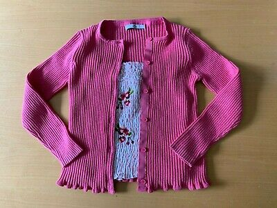 Girls Marks and Spencer pink cardigan & Next embroidered top outfit, 8 -10 years