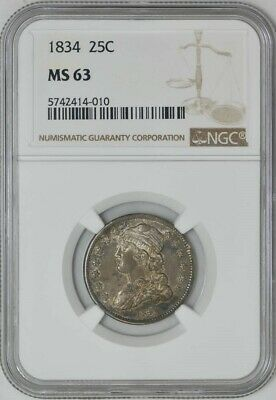 1834 Capped Bust Quarter 25c MS63 NGC 941442-1