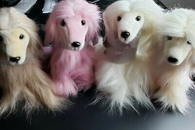4 Afghan Hound Dog Plush Stuffed Toys Different Colors Purely Luxe