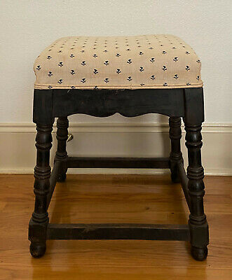 "Antique English Upholstered Wooden Footstool Ottoman - 20"" tall x 14"" square"