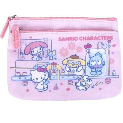 Sanrio Mix Characters 2-Zip Pouch Change Coin Purse Card Holder Wallet Bag Case