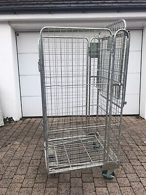Warehouse Nestable 4 Sided Metal Roll Cage Trolley With Internal Shelf