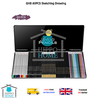 GHB 60PCS Sketching Drawing Art Colouring Pencils Set for Adults Artists...
