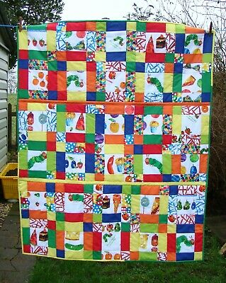 the very hungry caterpillar patchwork quilt throw handmade