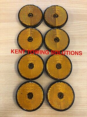 X8 Radex Amber Orange Round Trailer Caravan Fence HorseBox Hole Reflector MP155✅