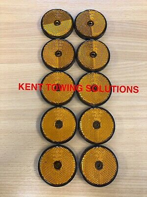 X10 Radex Amber Orange Round Trailer Caravan Fence Drilled Hole Reflector MP155✅