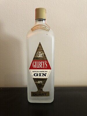 Gilbey's Distilled London Dry Gin Bottle Frosted Glass 1 Quart 90 Proof RARE