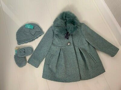 New Monsoon Girls Turquoise Wool Blend Coat With Fur Collar,Hat & Mittens-12-18M