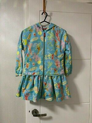 Oilily Girls Mermaid & Sea Creatures Peplum Style Dress & Coat- Turquoise - 7 Yr