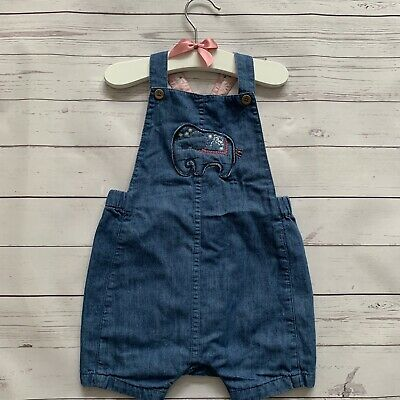 Baby Girls 9-12 Months - Dungarees Shorts M&S Blue Denim Lined Elephant Summer