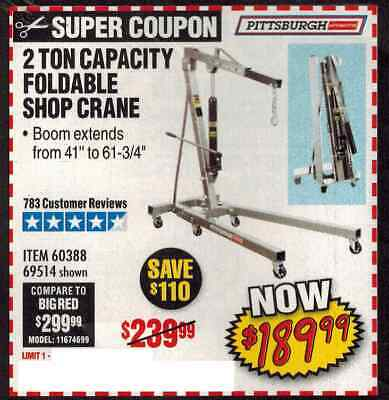 Harbor Freight Coup.on for 2 Ton Capacity Foldable Shop Crane