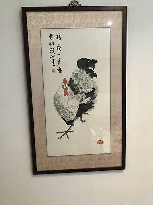 After Qi Baishi Chinese Calligraphy Painting Of Rooster Cock ,Artist Seal