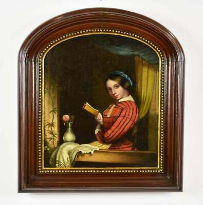 19th C. Antique Painting Lady Reading in a Window Signed Zuber-Buhler