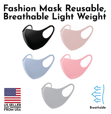 Set of 5 Fashion 3D Face Mask Washable Reusable Breathable Ship US Unisex