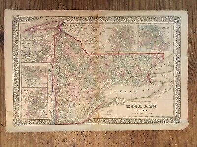 Antique Map of the State of New York 1867 S Augustus Mitchell Jr.