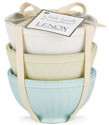 Lenox French Perle Groove Mini Everything Bowls / Set of 3 / Assorted Colors