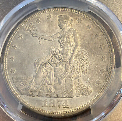 1874 CC Silver Trade Dollar PCGS Genuine - AU Details - Damage Chop Mark