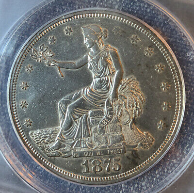 1875 CC Silver Trade Dollar ANACS AU 50 Details - Chopmarked - Cleaned