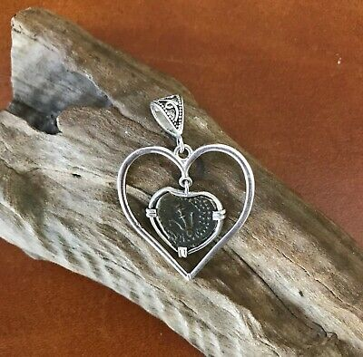 Treasure coin jewelry Widow's mite Ancient biblical Authentic Heart pendant SS