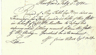 Revolutionary War Captain William Moulton Pay Receipt For Army Expenses 1781