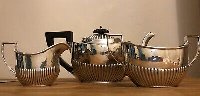 Antique Solid Silver Teapot Set x 3 Pieces Beatiful Fluted Design , England 1871
