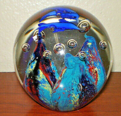 1990s Round Glass Paperweight with Blue Fish, Aquarium Globe Decor