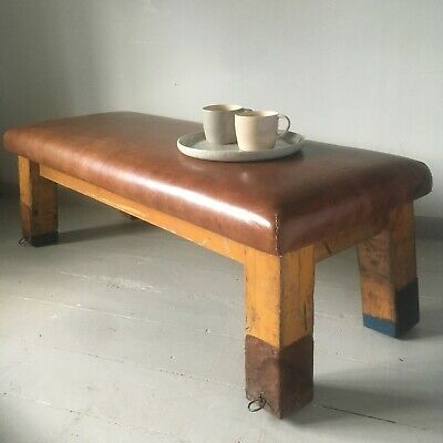 Vintage leather gym pommel horse coffee table footstool antique bench