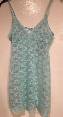 Nwt Women's Apt 9 Intimates All Floral Lace Aqua Short Nightgown ~ X-Large Xl