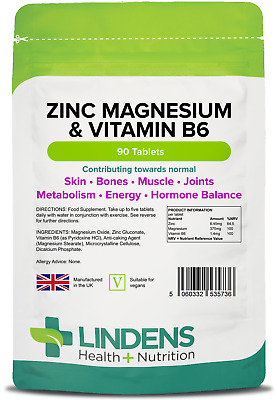 Zinc Magnesium B6 (90 Tablets) muscle, energy, testosterone - UK [Lindens 5736]