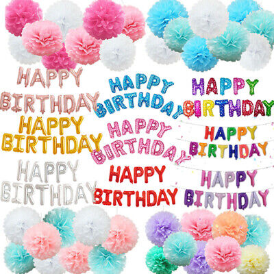 Happy Birthday Foil Balloons Banner Bunting Tissue Paper Pompoms Party Decorate