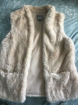Womens Next M Size 12/14 Cream Soft Faux Fur Fluffy Gilet Sleeveless Jacket