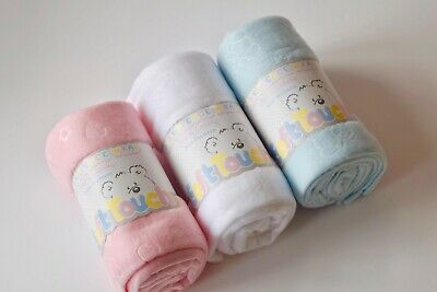 Embossed Fleecey Baby Blanket Wrap Girl Boy Unisex Pink Blue White By Soft Touch