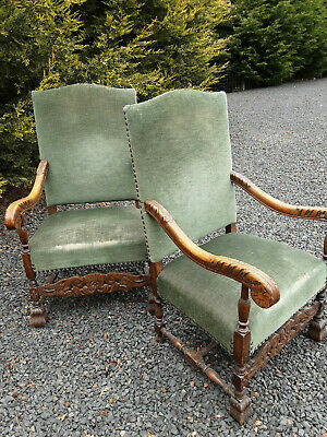 Fabulous Pair Of Early 20Th Century Antique Carolean Style Continental Armchairs