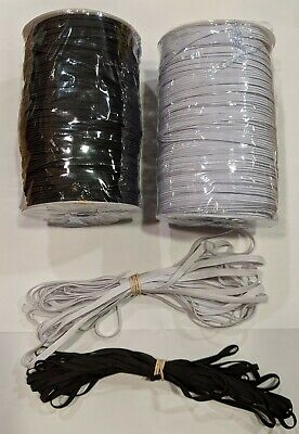 10 yds (1/4in) 5mm Flat Braided Elastic band For Facemasks In Stock. USA