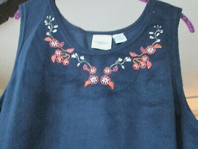 Vermont Country Store Navy Blue Sleeveless Fleece Embroidered Dress 3X