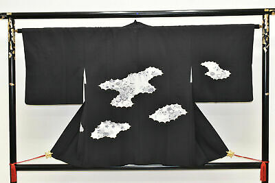 Vintage Japanese Ladies' Black/Ivory Kimono Haori Eve Jacket 'Floral Clouds' S/M