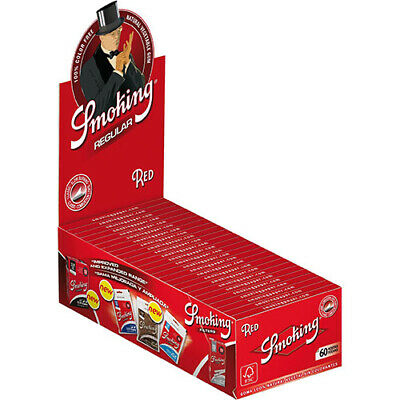 SMOKING Red Regular Rolling Papers Full Box (50 Booklets / 3000 Leaves)