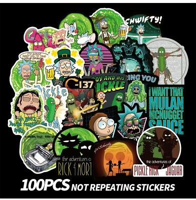100pcs Rick Morty themed vinyl Stickers Cute Character Stickers, USA SHIPPING!