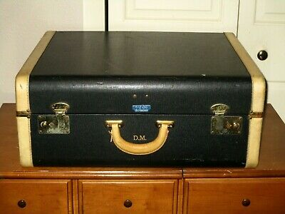 Rare Vintage BLUE BIRD By SPELREIN  NAVY BLUE LUGGAGE SUITCASE  1940s-50s  GUC