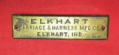 Antique Elkhart Carriage & Harness Mfg. Co. Name Plate - Indiana
