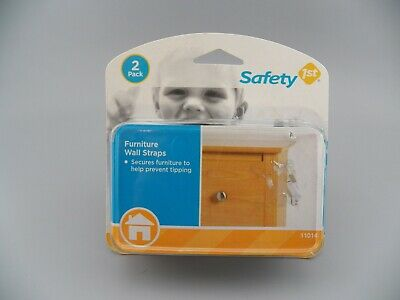 Safety 1st 11014 Furniture Wall Straps, 2 Pack, White ~ NEW Sealed Free Shipping