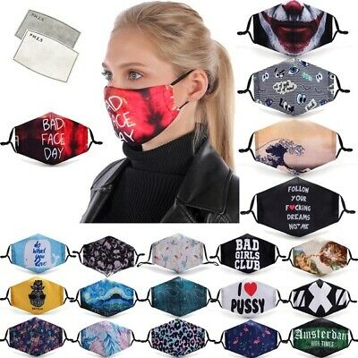 Washable & re-usable protective face masks with filter (96 different designs)